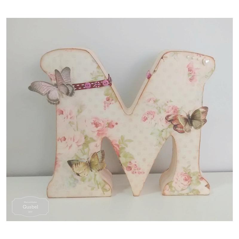 Letra decorada con decoupage y scrap gusbel manualidades y pinturas - Letras decoradas scrap ...