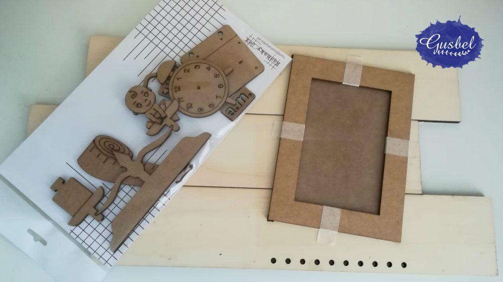 Portafotos utilizado en portafotos para Valeria, para recién nacido, pack que contiene soporte de tablas de corte irregular, marco, siluetas...